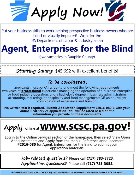 job notice enterprises for the blind