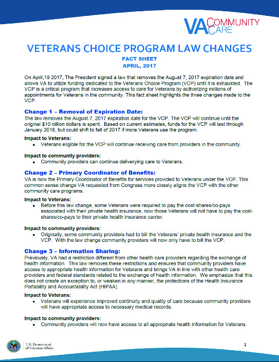 VA choice fact sheet