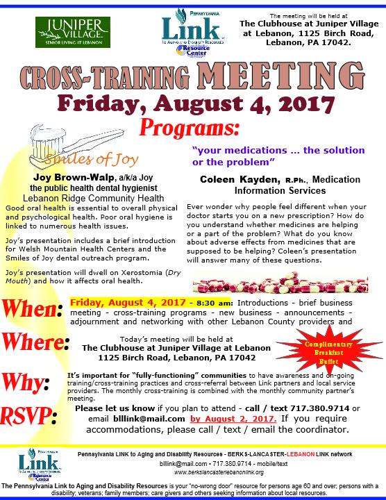 August Cross-training notice