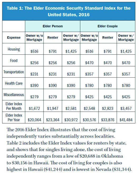 elder economic security standard