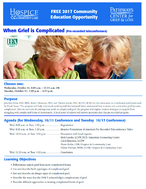 hospice grief complicated
