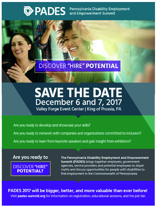 SAVE THE DATE – The Pennsylvania Disability Employment and Empowerment  Summit is December 6 & 7 | Berks - Lancaster - Lebanon LINK Service Area