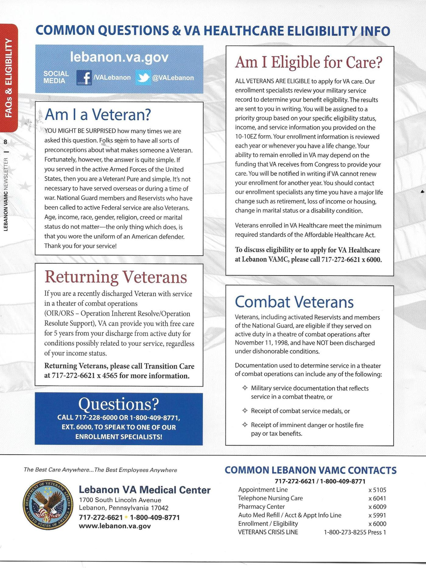 Here are some common questions (and answers) about VA
