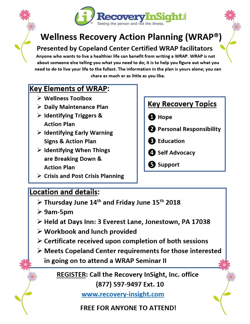 Workbooks dual diagnosis workbook free : June 14 & 15 – FREE Wellness Recovery Action Planning sessions in ...