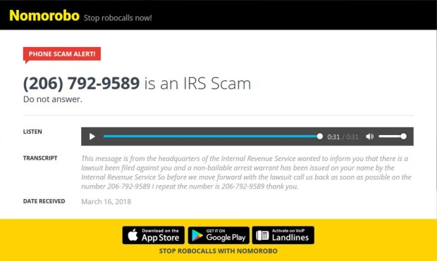 irs scam call