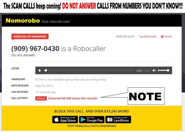 SCAM CALLER 909.967.0430