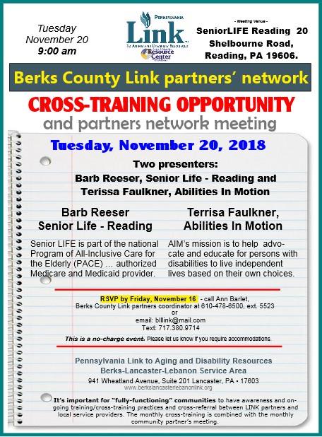 November 2018 Berks Link X-training info sheet