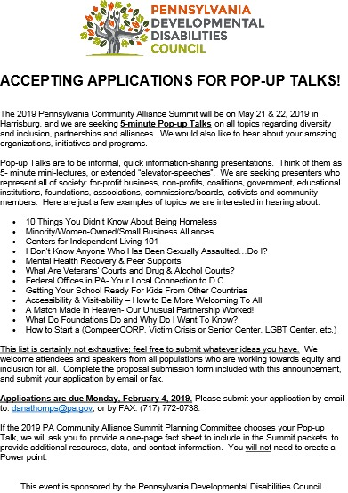 pop-up talks