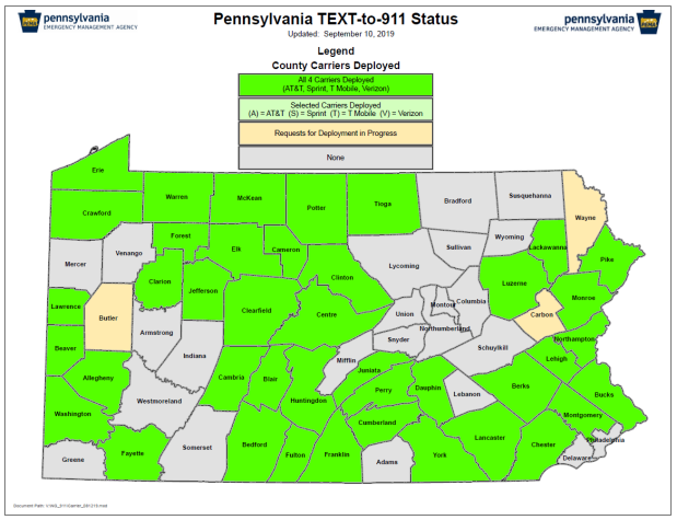 PA Text to 911 Map