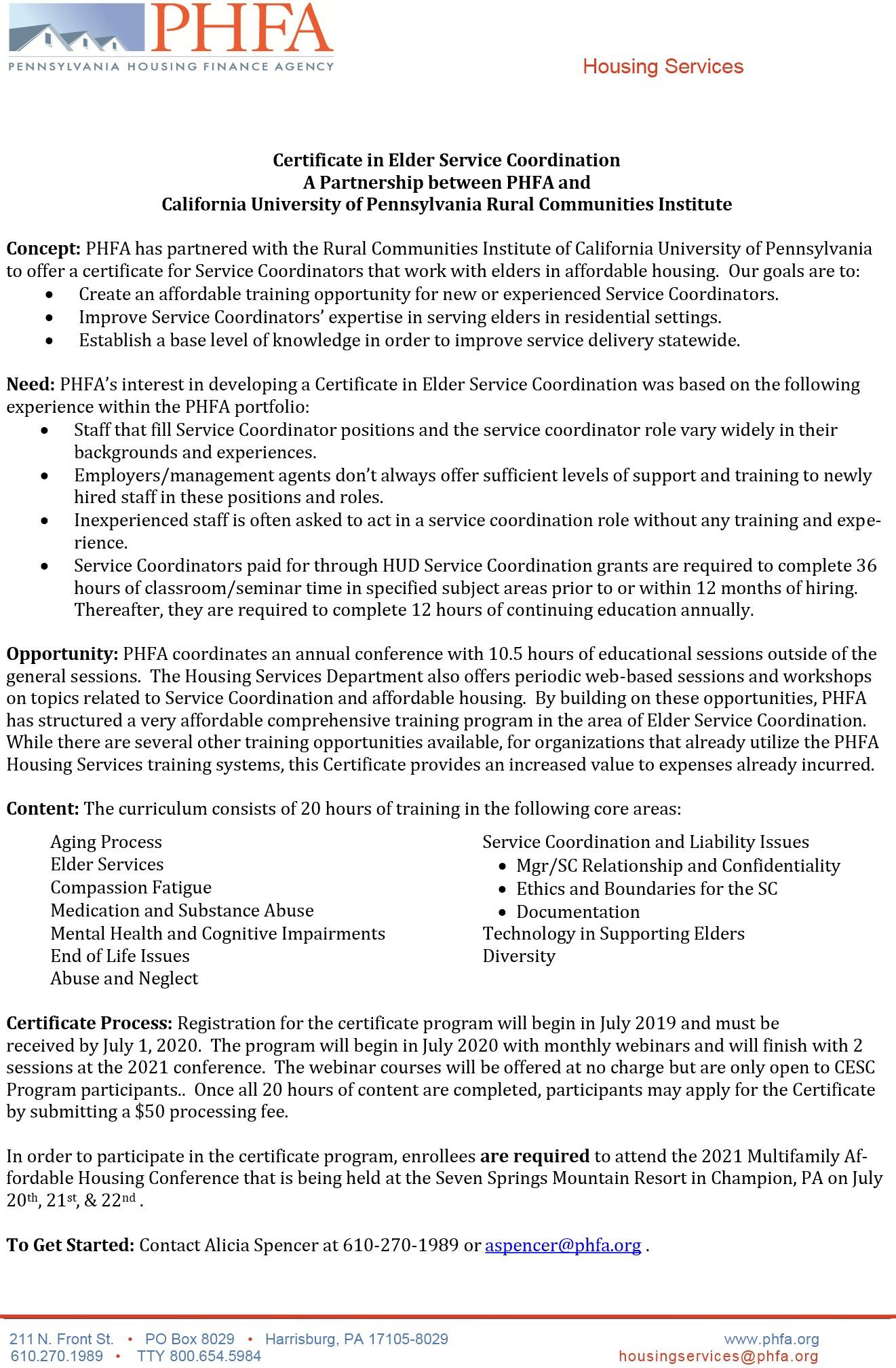 PHFA 2020 CESC Information Updated