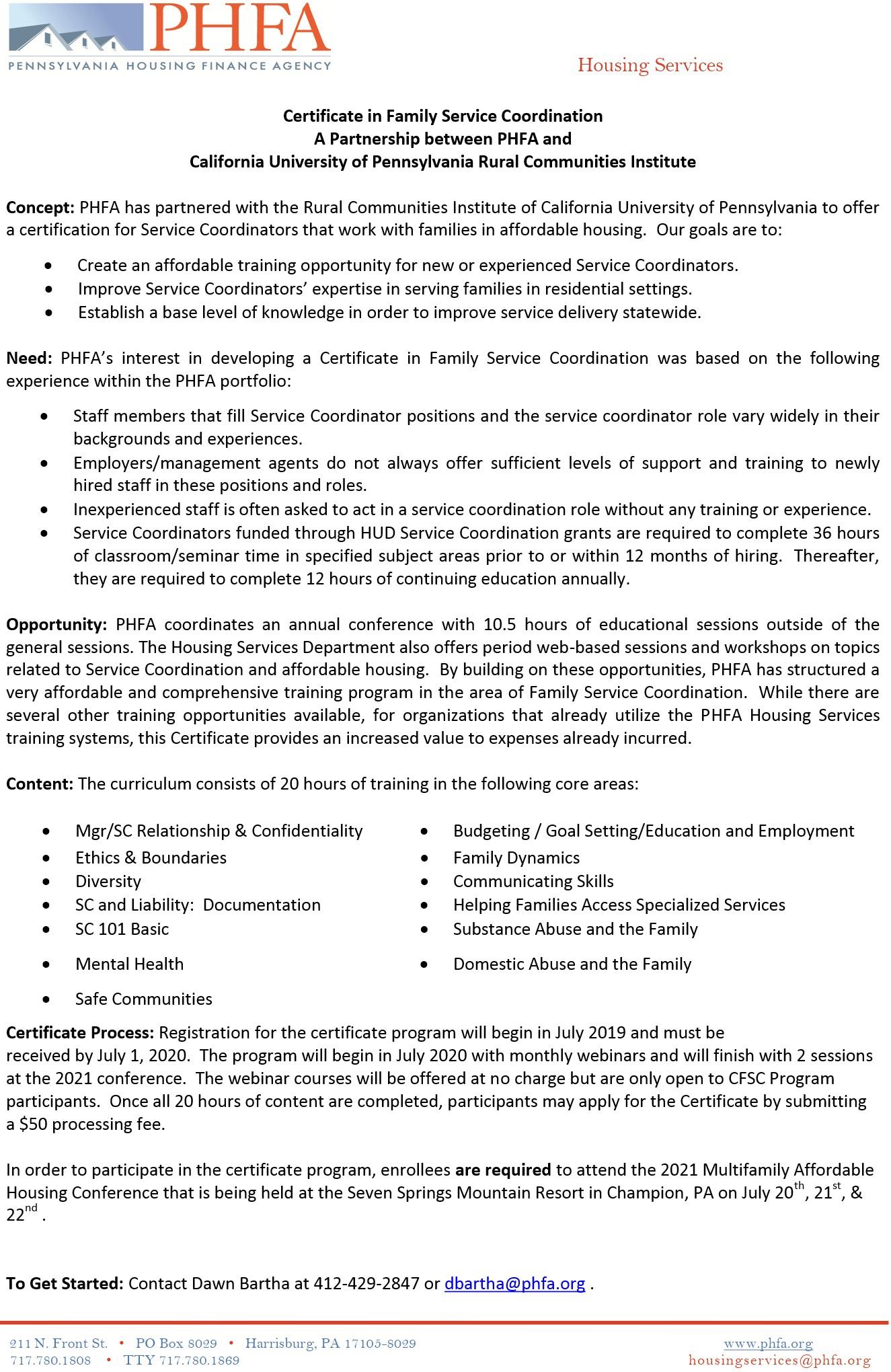 PHFA 2020 CFSC Information Updated