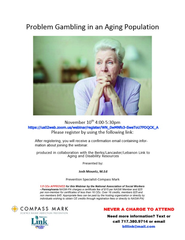 Problem Gambling in an Aging Population Flyer