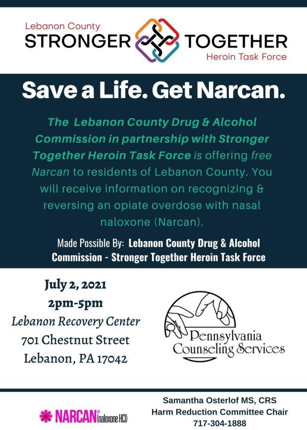 Lebanon PA Counseling Narcan Flyer